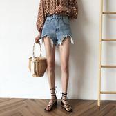 PETIT AMIE牛仔短褲女夏季新款韓版chic寬鬆顯瘦闊腿高腰熱褲     芊惠衣屋