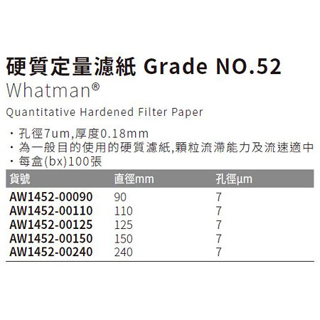 《Whatman®》硬質定量濾紙 Grade NO.52 Quantitative Hardened Filter Paper