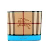 【BURBERRY】Haymarket 格紋對開8卡短夾(亮藍色)4065191