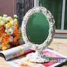 歐式化妝鏡  臺式梳妝鏡子 白色浮雕鑽飾 角度可調