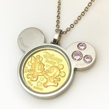 迪士尼系列金飾-黃金金幣項鍊-天生一對-粉C