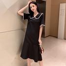 VK精品服飾 韓國風復古黑色過膝寬鬆娃娃領短袖洋裝