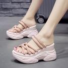 增高拖鞋 夏季鬆糕拖鞋女新款外穿半拖厚底厚底楔形內增高涼拖鞋-Ballet朵朵