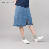 a la sha+a 百搭抓破牛仔窄版中長裙