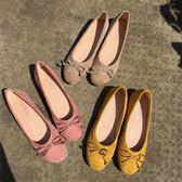 甜美女鞋淺口圓頭舒適平底鞋絨面蝴蝶結單鞋豆豆鞋女   居家物語