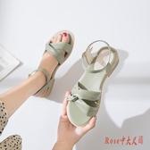 涼鞋 2020年夏季新款仙女風平底女鞋時裝百搭方跟繞帶中跟羅馬鞋女 OO12739【Rose中大尺碼】