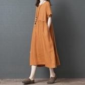 洋裝 連身裙 夏季新款韓版寬鬆顯瘦大碼女裝胖mm遮肚時尚亞麻短袖洋裝長裙子