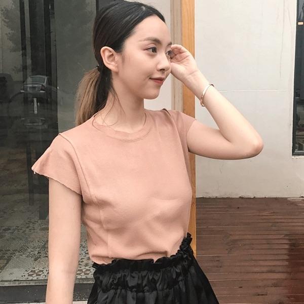 [超豐國際]夏季圓領打底背心女學生純色不鎖邊袖針織上衣T恤潮1入