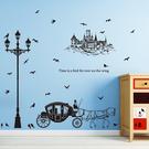 壁貼 DIY創意無痕 牆貼 貼紙【半島良品】-SK9268-個性路燈馬車剪影 60X90