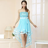 中大尺碼~甜美燕尾小禮服洋裝(送透明肩帶)(F~3XL)