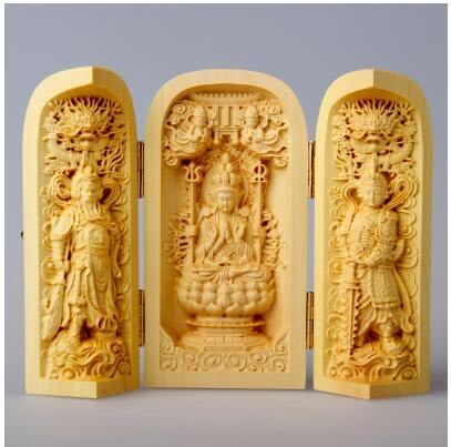 黃楊木雕佛像三開盒汽車擺件福祿壽觀音三聖工藝品佛龕手把件 千手觀音