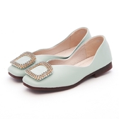 MICHELLE PARK 優雅公主 柔軟牛皮水鑽方形大飾扣包鞋-湖水綠