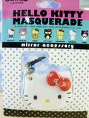 【震撼精品百貨】Hello Kitty 凱蒂貓~KITTY鑰匙圈-耳機塞+鏡子-紅