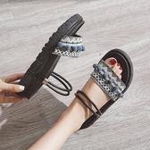 涼鞋女新款夏季平底兩穿百搭網紅厚底外穿chic女鞋子   芊惠衣屋
