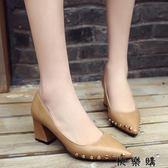 淺口單鞋子女復古尖頭小皮鞋媽媽鞋