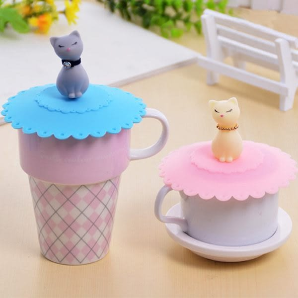 【00028】 貓咪造型杯蓋 矽膠防漏蓋 馬克杯 水杯