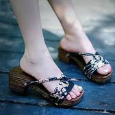 木屐鞋日式人字木屐木拖鞋女款夏防滑高跟和風少女【奇趣小屋】