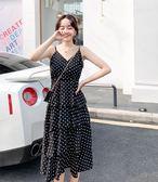 工廠批發不退換洋裝連身裙M-4XL中大尺碼32404雪紡波點連衣裙蛋糕裙收腰顯瘦氣質高腰無袖吊帶長裙