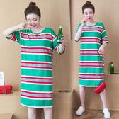 韓版長版T連身裙S-3XL實拍9002夏裝新款短袖t恤女條紋中長款純棉大碼女裝柏1F133A韓依紡
