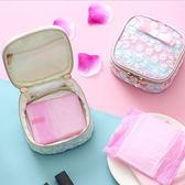 衛生棉包-日系花朵刺繡渲染拉鍊衛生棉包仕女包盥洗包收納包【AN SHOP】