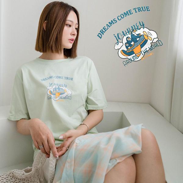 現貨-MIUSTAR 夢想成真!企鵝去旅行短袖上衣(共3色)【NJ1719】