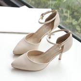 (交換禮物)2018新款包頭涼鞋女夏韓版一字扣小清新高跟鞋女細跟職業單鞋5cm
