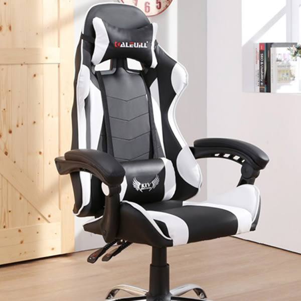 LOGIS- KLV戰地皮面電競椅/白黑 電腦椅 主管椅 賽車椅 皮椅【DIY+WE-919】