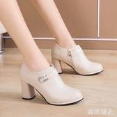 新款粗跟仙女鞋溫柔單鞋小高跟文藝側拉鏈防水臺深口單鞋 XN10004【極致男人】