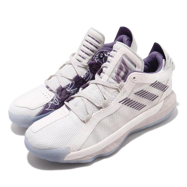 adidas 籃球鞋 Dame 6 米白 紫 Inked up 內側玫瑰 男鞋 運動鞋 【PUMP306】 FV0320