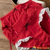 本命年內褲女中腰少女可愛蝴蝶結蕾絲花邊紅色牛年純棉內褲【勇敢者戶外】