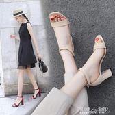 粗跟高跟涼鞋 涼鞋女中跟粗跟百搭韓版學生一字扣帶少女羅馬高跟女鞋 傾城小鋪