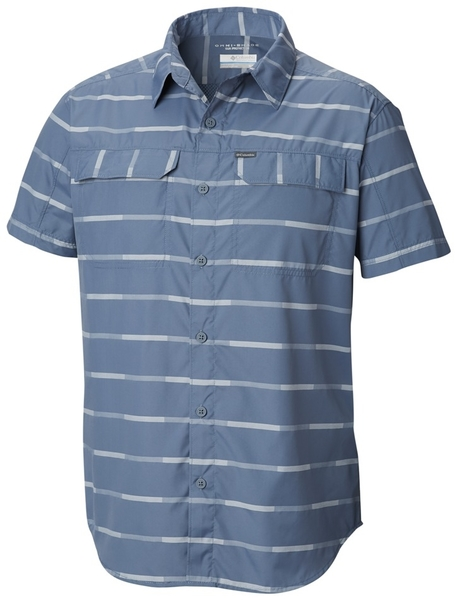 【Columbia】男UPF30快排短袖襯衫-藍