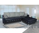 {{ 海中天休閒傢俱廣場 }} J-8 摩登時尚 客廳系列 54-805(309) 529型黑色耐磨皮L型沙發