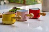 BreadLeaf 日式陶瓷珐琅 木柄迷你小奶鍋 9cm牛奶小鍋 巧克力融化鍋 黃油鍋 加熱鍋 奶油鍋B035
