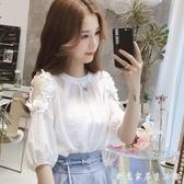 春夏季韓版新款超仙白色露肩短袖雪紡衫女洋氣大碼遮肚子上衣 創意家居生活館
