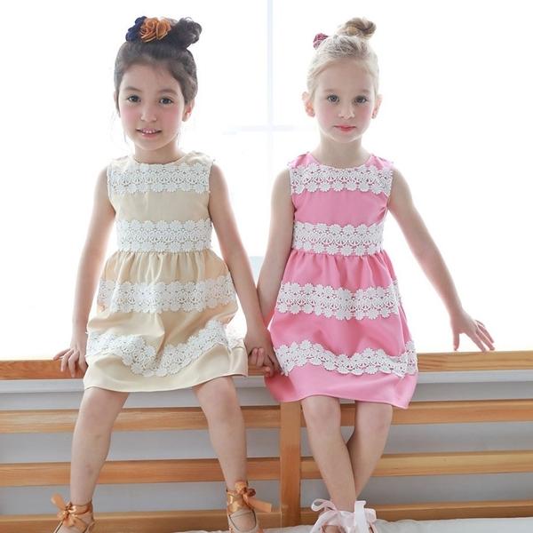 【北投之家】女童無袖洋裝 母女親子姊妹裝 裙子雙色款 蕾絲 (兒童/小孩/小朋友/幼童寶寶)