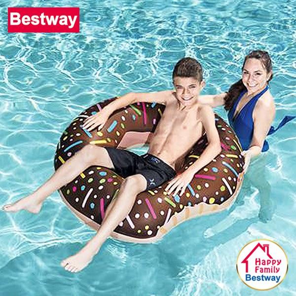 Bestway 顏色隨機-俏皮可愛甜甜圈充氣坐騎/水上坐騎/泳圈/浮排/戲水玩具/泳池派對/沙灘海灘(36118)