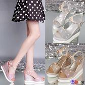 Bbay 楔型涼鞋 坡跟涼鞋 厚底 鬆糕 魚嘴 防水臺 高跟 一字帶
