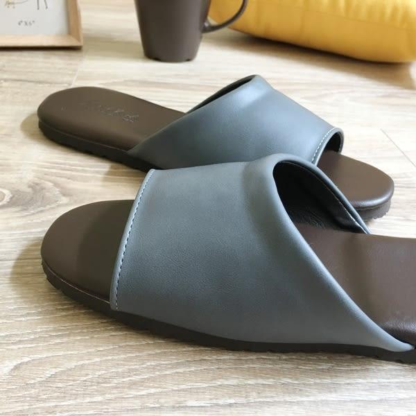 經典-紳士皮質室內拖鞋-牛津灰