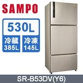 SAMPO 聲寶【SR-B53DV】530公升 1級能效 變頻鋼板三門冰箱