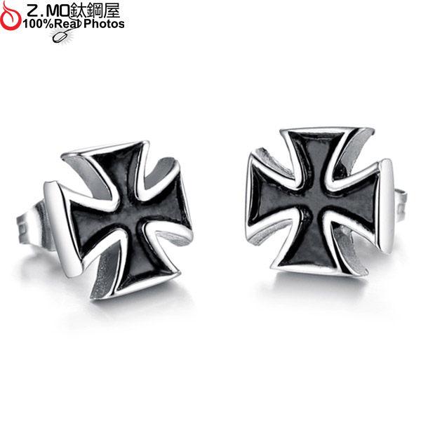 [Z-MO鈦鋼屋]黑色十字架中性耳環/歐美陽光男孩飾品/優質白鋼抗過敏/單個價【EKS276】