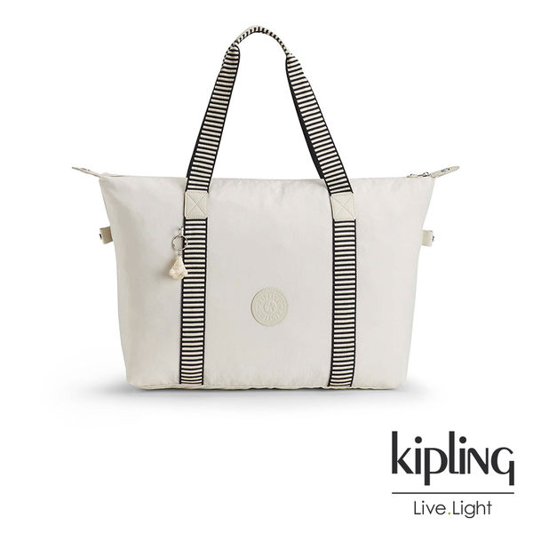 Kipling 象牙白混搭條紋手提側背包-中-ART M
