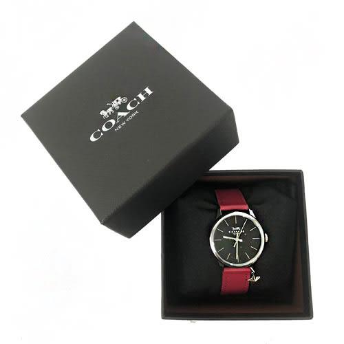 【COACH】經典馬車 LOGO立體星星吊飾皮革錶帶石英錶女用手錶(紅)