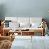 原木日式半島白橡木實木寬扶手可拆洗三人布沙發床w0439-淺卡其色坐墊