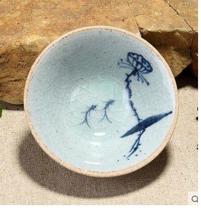 品藍粗陶手繪茶杯汝窯哥窯裂片02