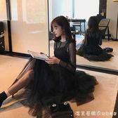 2019夏季很仙的法國小眾佯裝兩件套小個子蕾絲打底裙網紗仙女裙 漾美眉韓衣