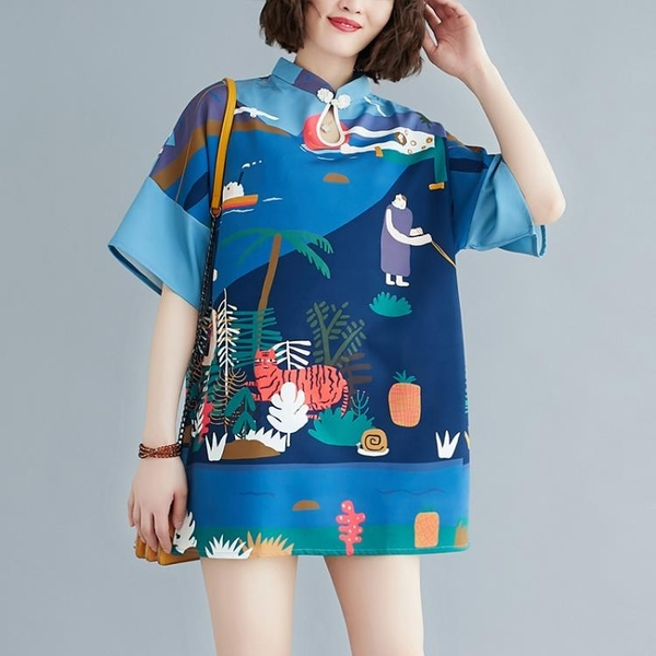 中大尺碼洋裝 2021夏裝新款改良旗袍短裙女民族風大碼立領遮肉顯瘦印花連身裙潮