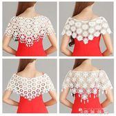 夏季韓版針織鏤空蕾絲小披肩百搭短款坎肩薄外套寬鬆套頭外搭女新  薔薇時尚