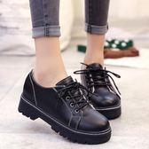 女鞋休閒鞋平底學生小皮鞋英倫風復古百搭韓版潮 免運