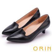 ORIN 簡約時尚 嚴選羊皮百搭素面尖頭中跟鞋-黑色